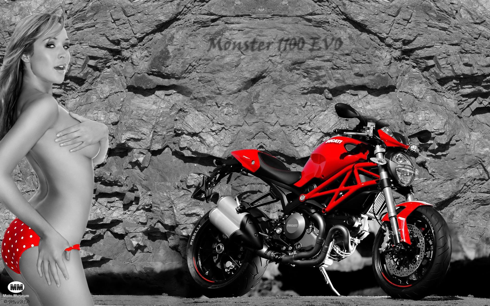 Ducati Monster 1100 Evo  Emily Scott - Sexy Girl - Wallpaper-6275